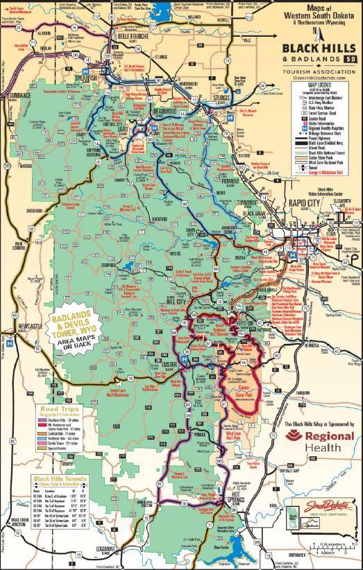 Mapa de las Black Hills